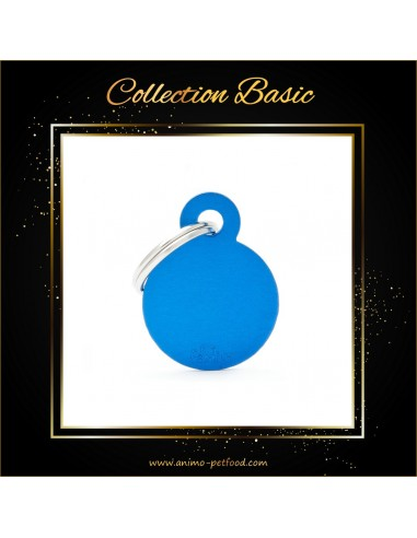 chat-chien-medaille-ronde-alu-bleu