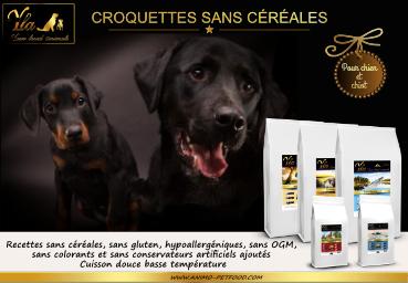 croquettes sans cxéréales ni gluten pour chiens et chiot