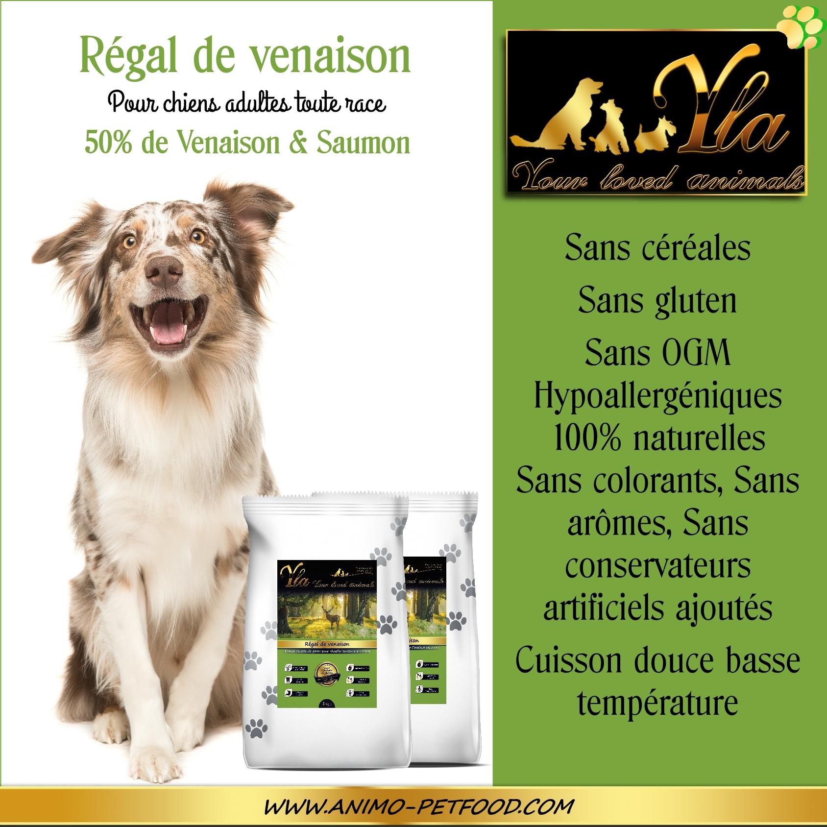 croquettes hypoallergeniques sans céréales pour chien REGAL DE VENAISON